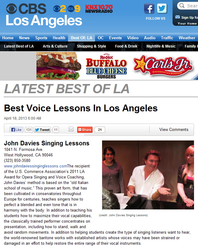 CBS Best Of LA Best Vocal Singing Lessons John Davies - Singing